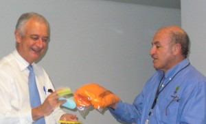 Boris Resnic & Marco Flores passing out prizes at a TapRooT® course