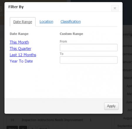 dashboard filter