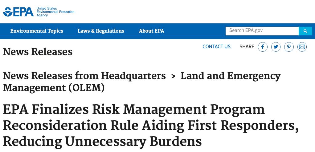 EPA RMP Revision