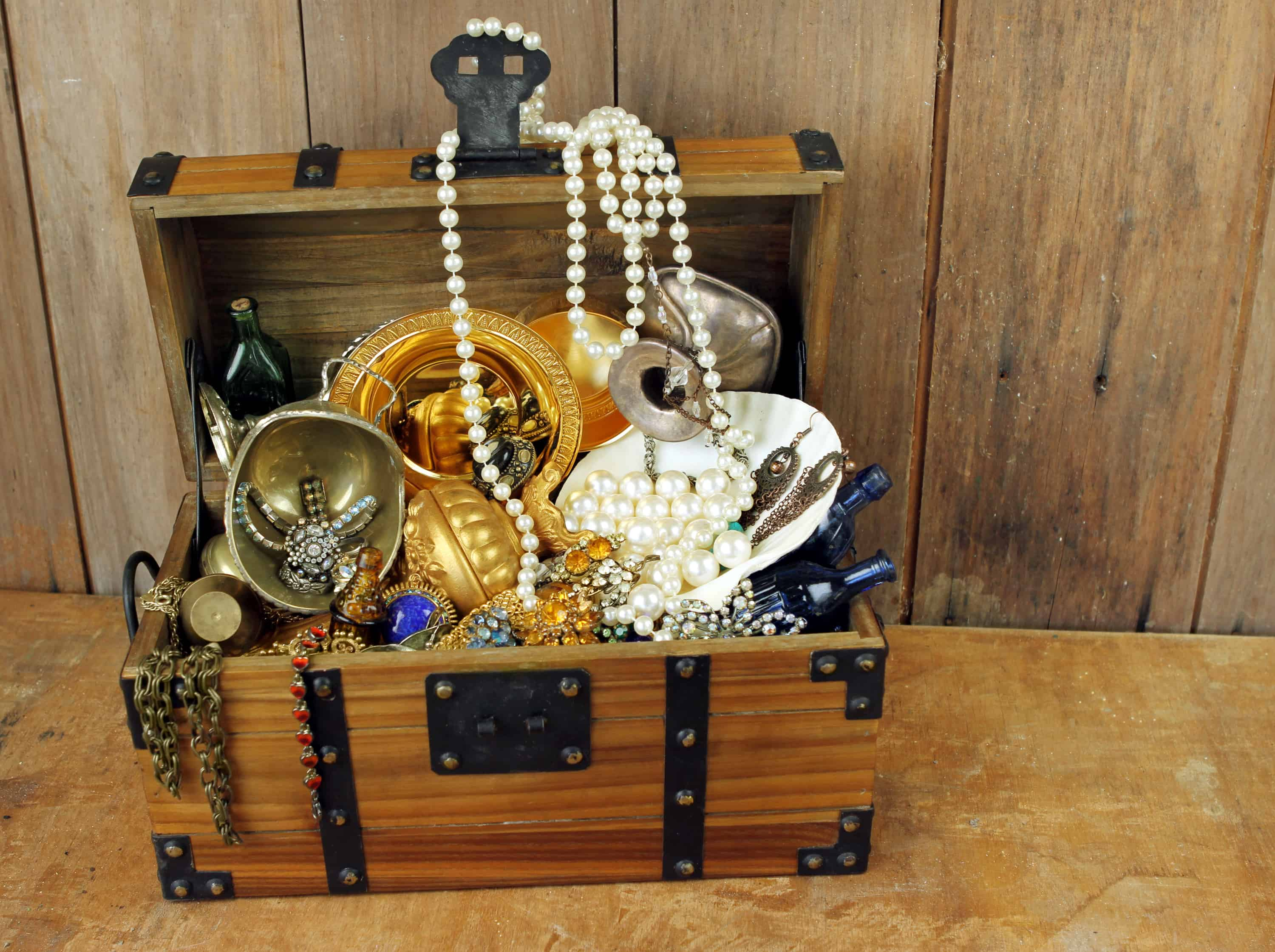 Filled treasure chest.
