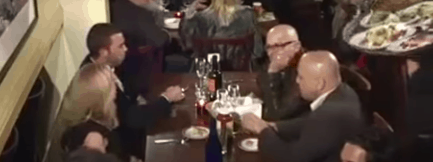 bad day waiter dropping tray on bald man